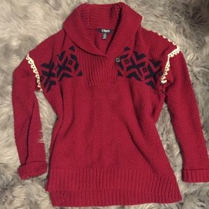 Chaps burgundy maroon sweater size large